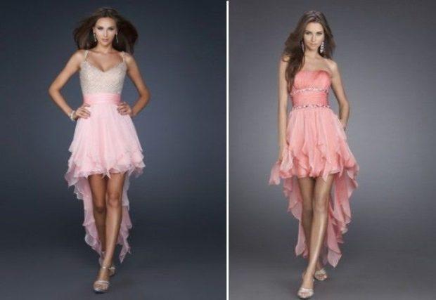 платья розовые со шлейфом юбка с воланами