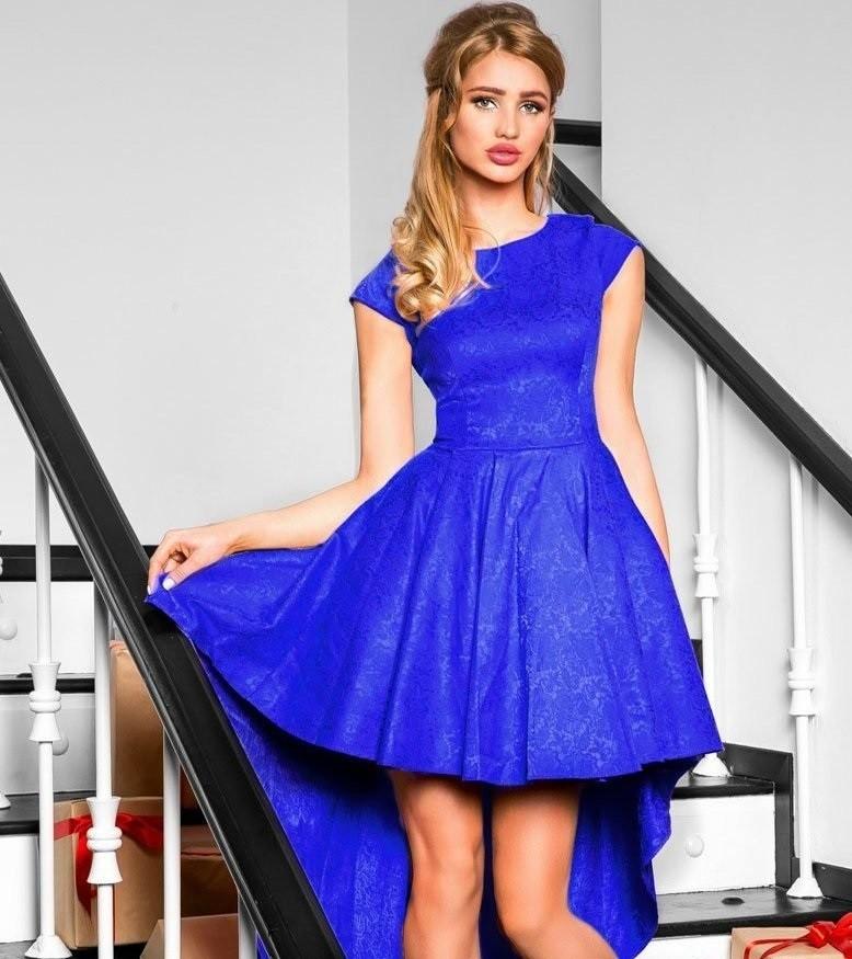синее платье со шлейфом рукав короткий