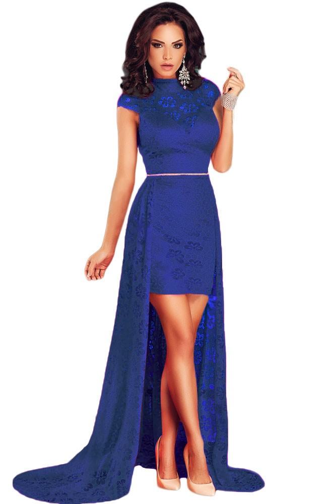 платье кружевное синие со шлейфом рукав короткий