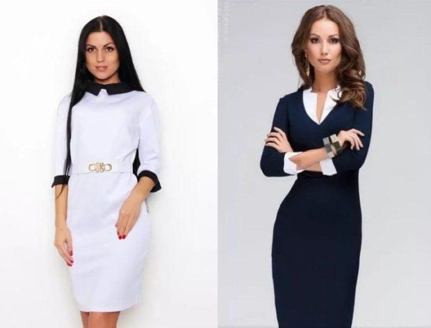 деловыые платья белое с черным воротником синее с белым воротником манжетами