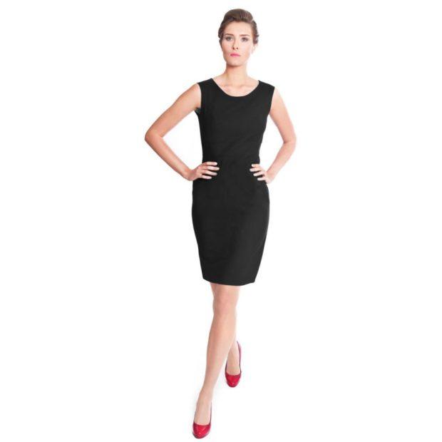 деловое платье черное без рукава