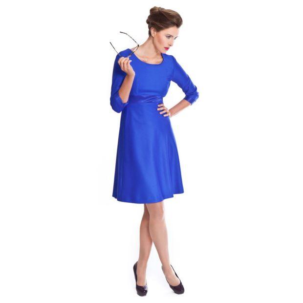 синее платье а-силует рукав 3/4 по колено