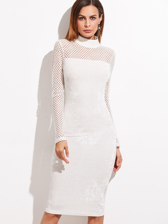 белое платье деловое украшено сеткой