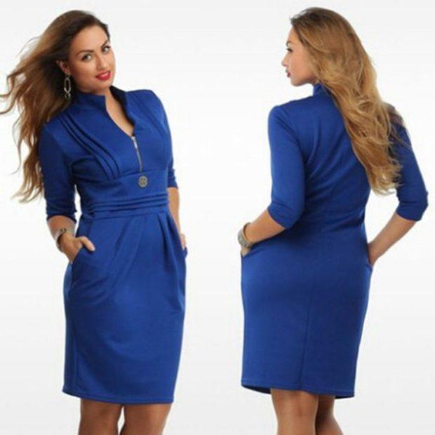 синее платье рукав 3/4 по коленое с защипами