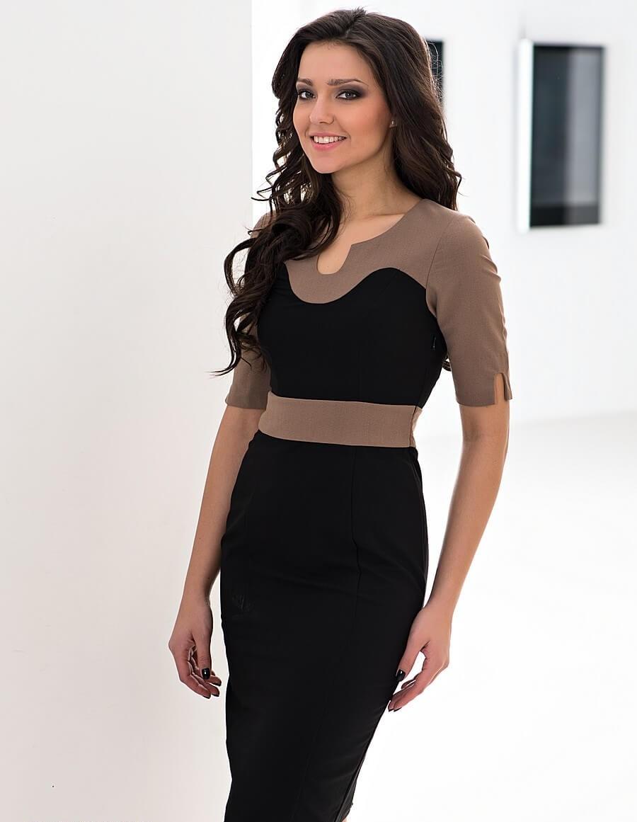 коричнево-черное платье деловой стиль по колено