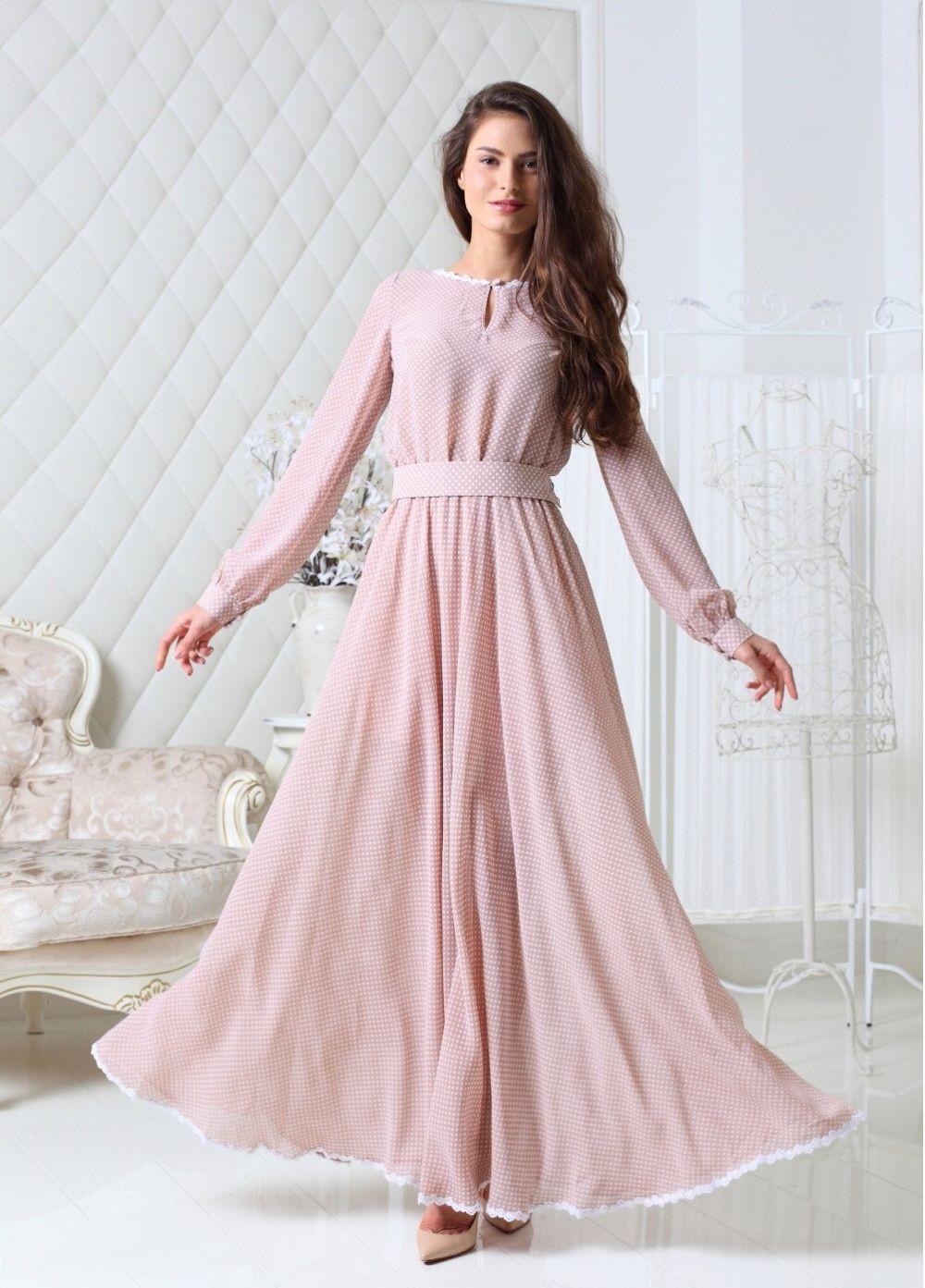 платье розовое в горошек длинное рукава длинный