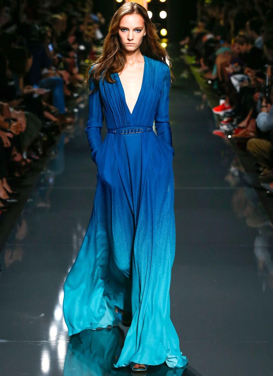платье в пол с V-образным вырезом омбре синеес голубым