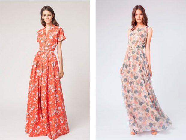 платье в пол красное в цветы с коротким рукавом бежевое в принт без рукава