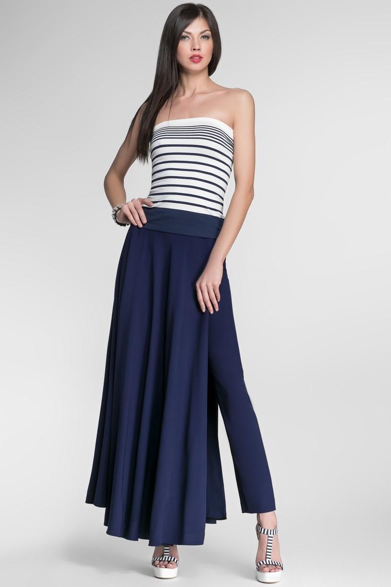 юбка-брюки синие длинные