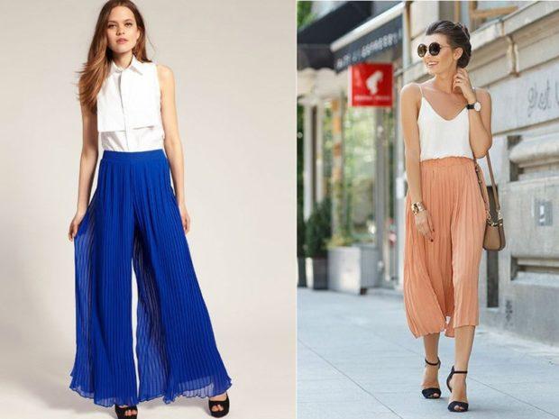 тонкие юбка-брюки голубые длинные бежевые короткие