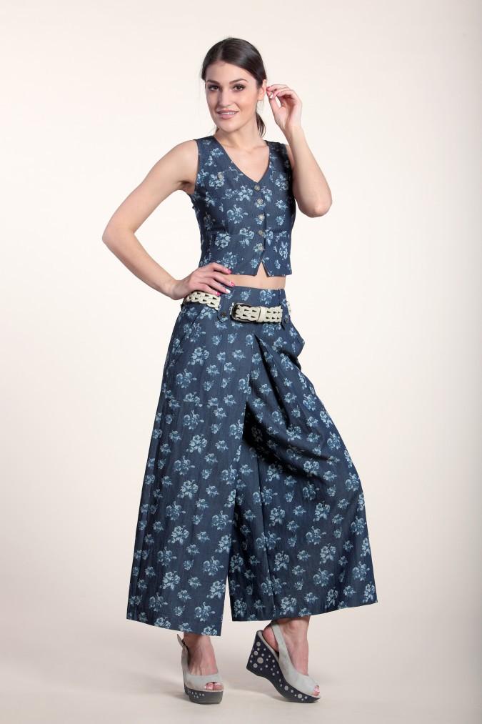 юбка-брюки широкие синие в принт