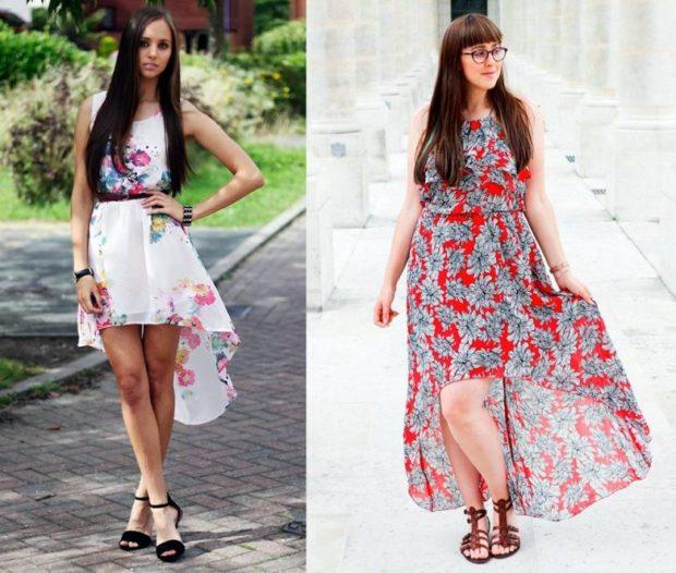 платье маллет белое в цветы красное в серые цветы длинное буз рукавов
