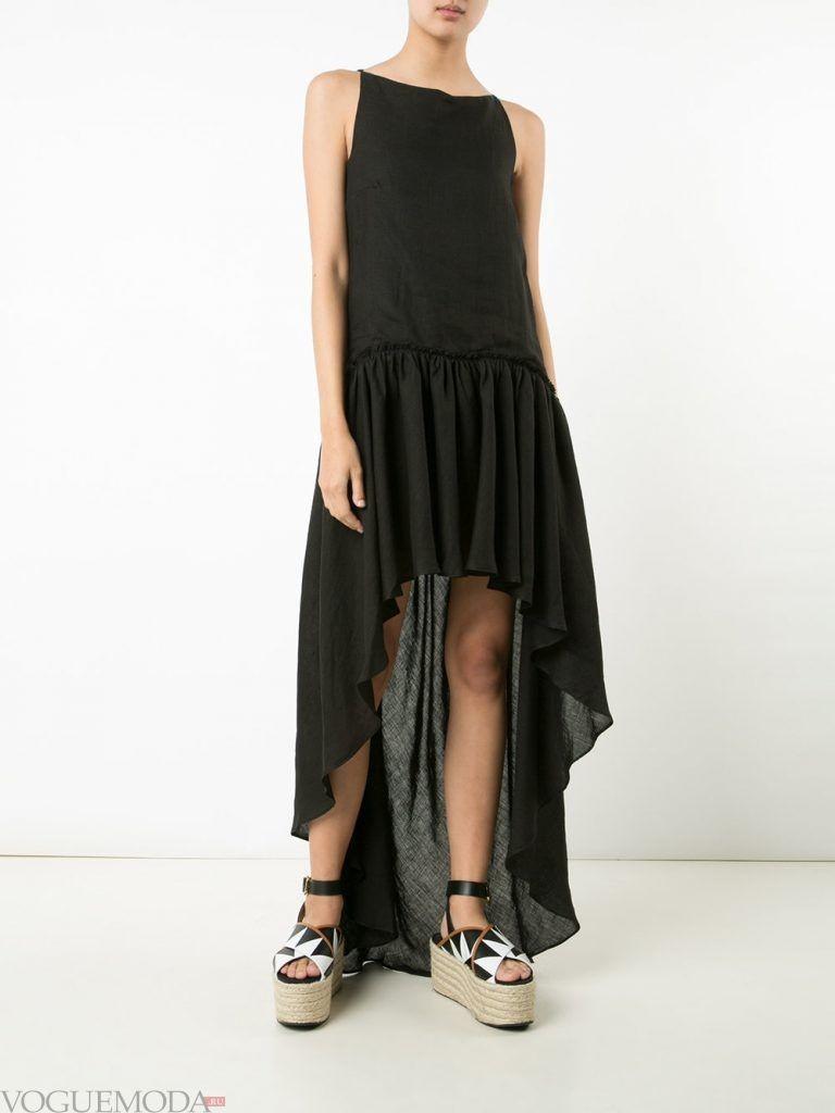 платье маллет черное без рукава