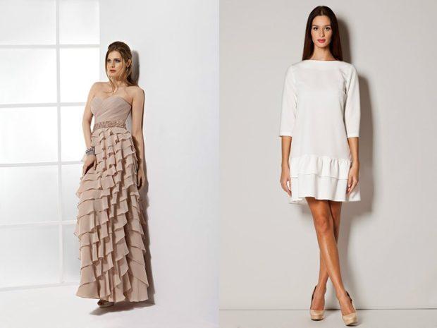 платье длинное бюстье с оборками на юбке белое платье по колено рукав 3/4 юбка с воланами