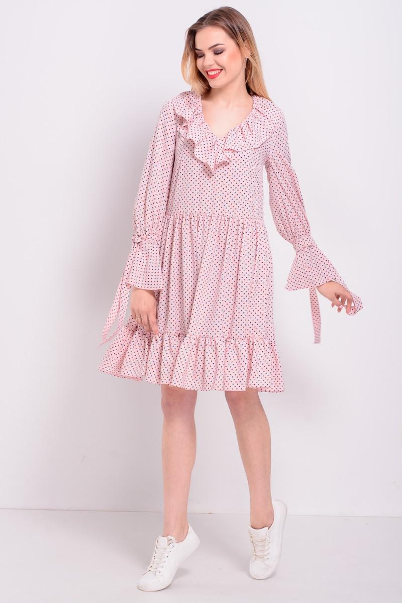 шифоновое платье розовое свободное с воланами на юбке на руковах воротнике