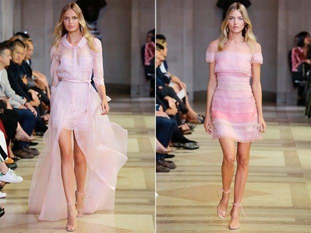 шифоновое платье розовове со шлейфом розовое короткое плечи открыты