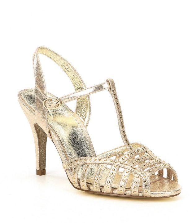 модная обувь на новый год: золото высокий каблук