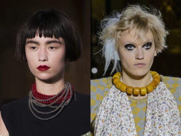 модная бижутерия 2019-2020: на шею бусы красные и цепочки бусы большие под янтарь