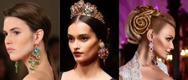 модная бижутерия 2018-2019: висячие сережки разной формы и цвета