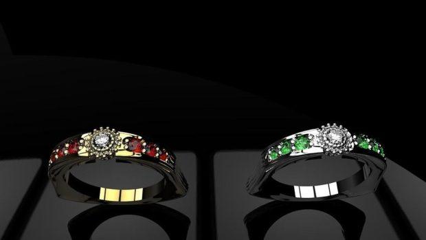 модная бижутерия 2018-2019: кольца с камушками красными зелеными