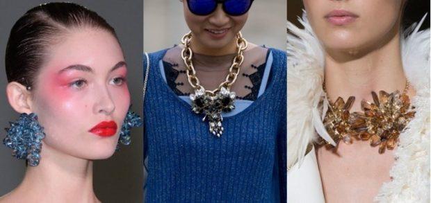 модная бижутерия 2018-2019: сережки массивные цепь крупная с кулоном