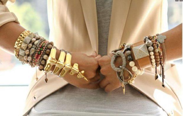 бижутерия 2018-2019: браслеты разной формы из разных материалов