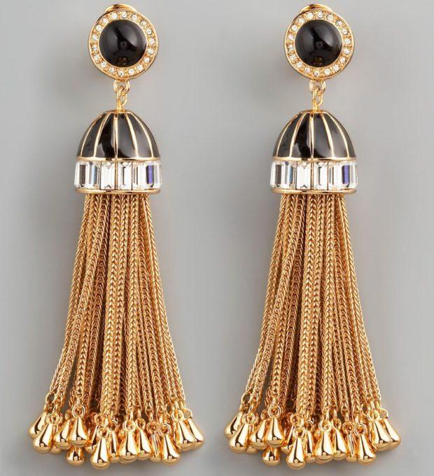 модная бижутерия 2019-2020: сережки висячие веером с черным камнем