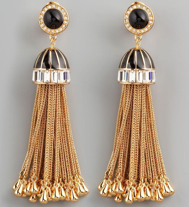 сережки висячие веером с черным камнем цепочки золотые