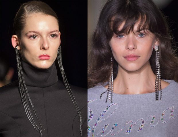 модная бижутерия 2018-2019: сережки длинные цепочки