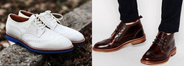 мужская обувь 2020-2021: туфли оксфорды белые коричневые