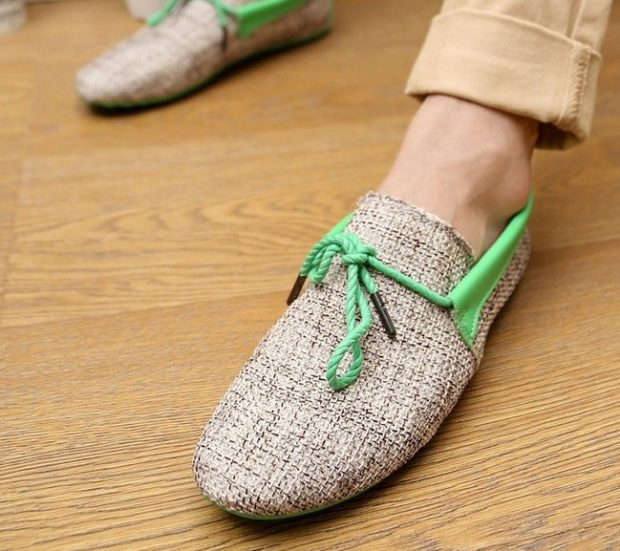 тряпочные мокасины на шнурках салатовых
