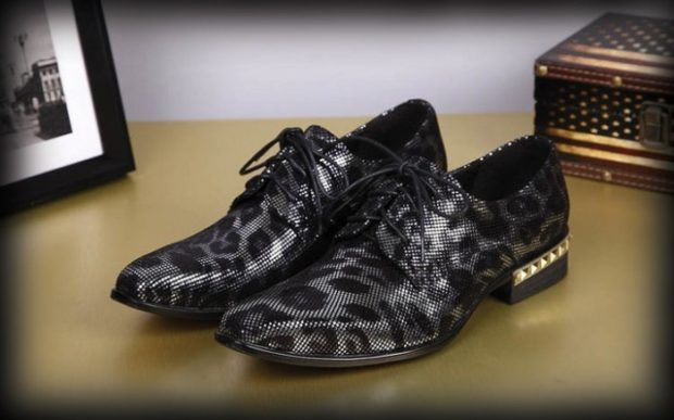 туфли серо-черные под леопарда