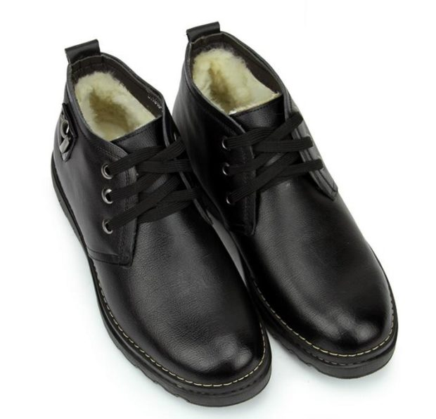 ботинки черные кожаные зимние