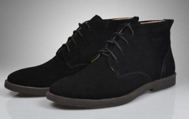ботинки замшевые черные