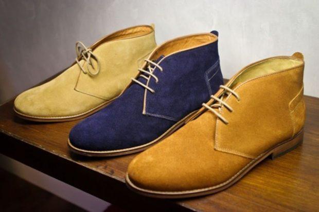 ботинки замшевые коричневые синие светлые