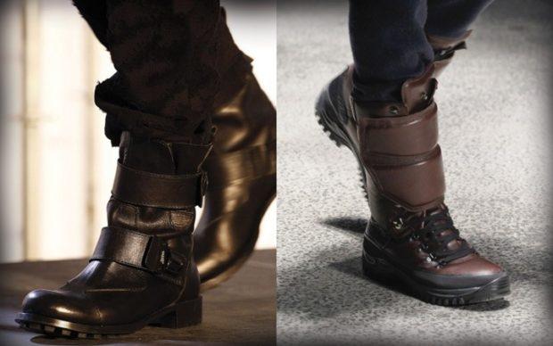 мужская обувь 2020-2021: ботинки кожаные черные с ремнями коричневые дутые