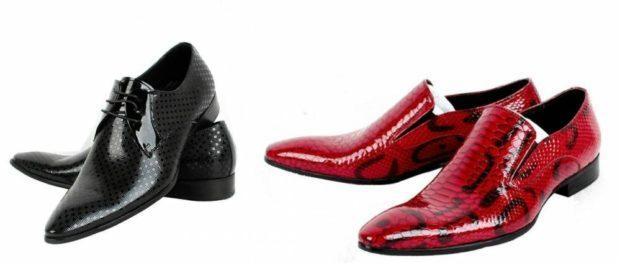 туфли острый носок рептилия черные красные