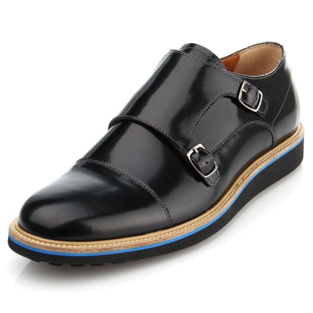 туфли черные монки цветная подошва