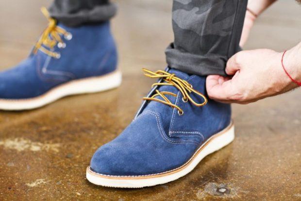 замшевые синие ботинки