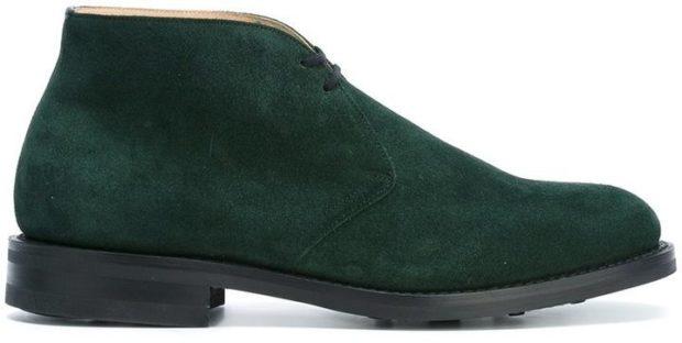 ботинки замшевые зеленые