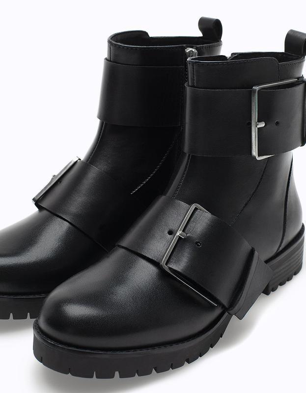 ботинки черные кожаные с застежками