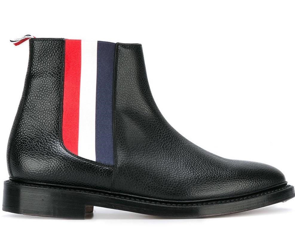 ботинки черные с полосками спортивными кожа