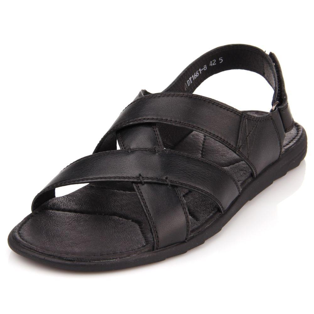 сандалии римский стиль черный кожа