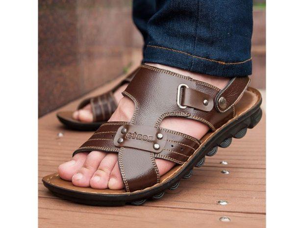 сандалии кожаные коричневые