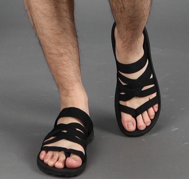 нубуковые сандалии переплетенные