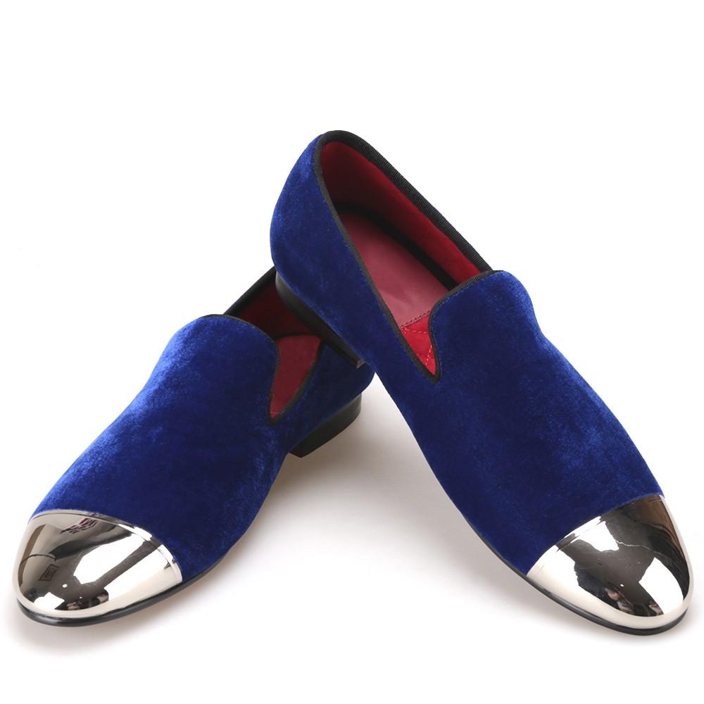мокасины синие носок серебро