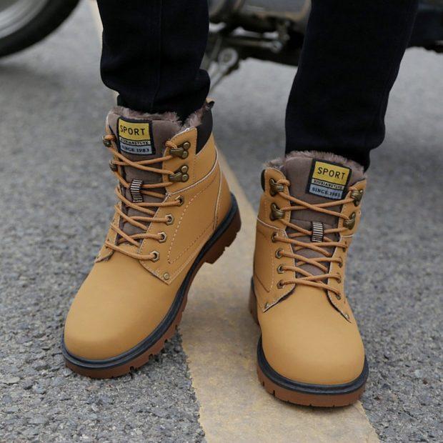 сапоги коричневые теплые на шнурках