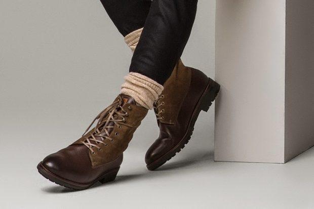 ботинки высокие коричневые на шнурках
