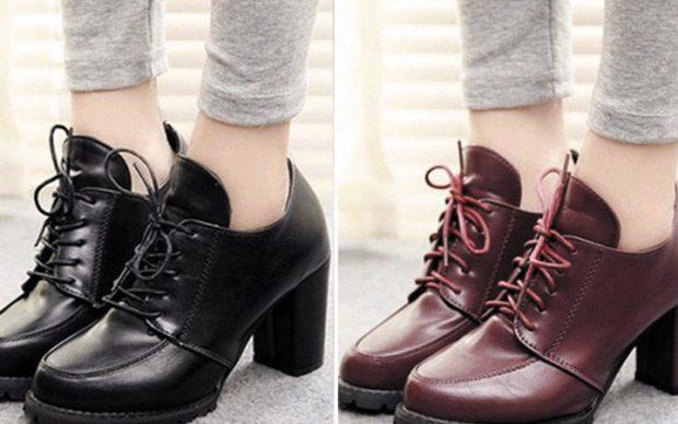 ботинки черные красные на низком каблуке