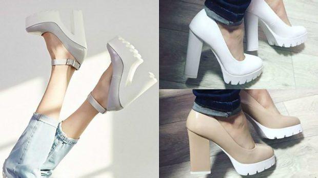 туфли на толстом каблуке серые с белым каблуком бежевые белые